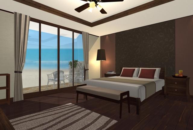 海が見えるホテルの部屋