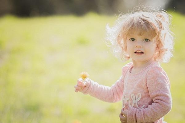 タンポポを持つ女の子の画像