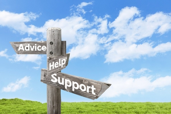 アドバイス、ヘルプ、サポートと書かれた矢印の画像