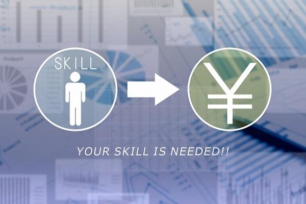 スキルをお金に変えるイメージを表した画像