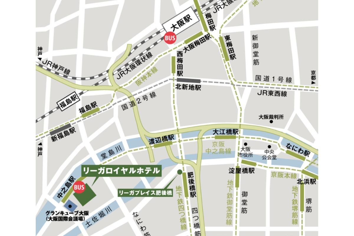 リーガロイヤルホテル大阪周辺の地図