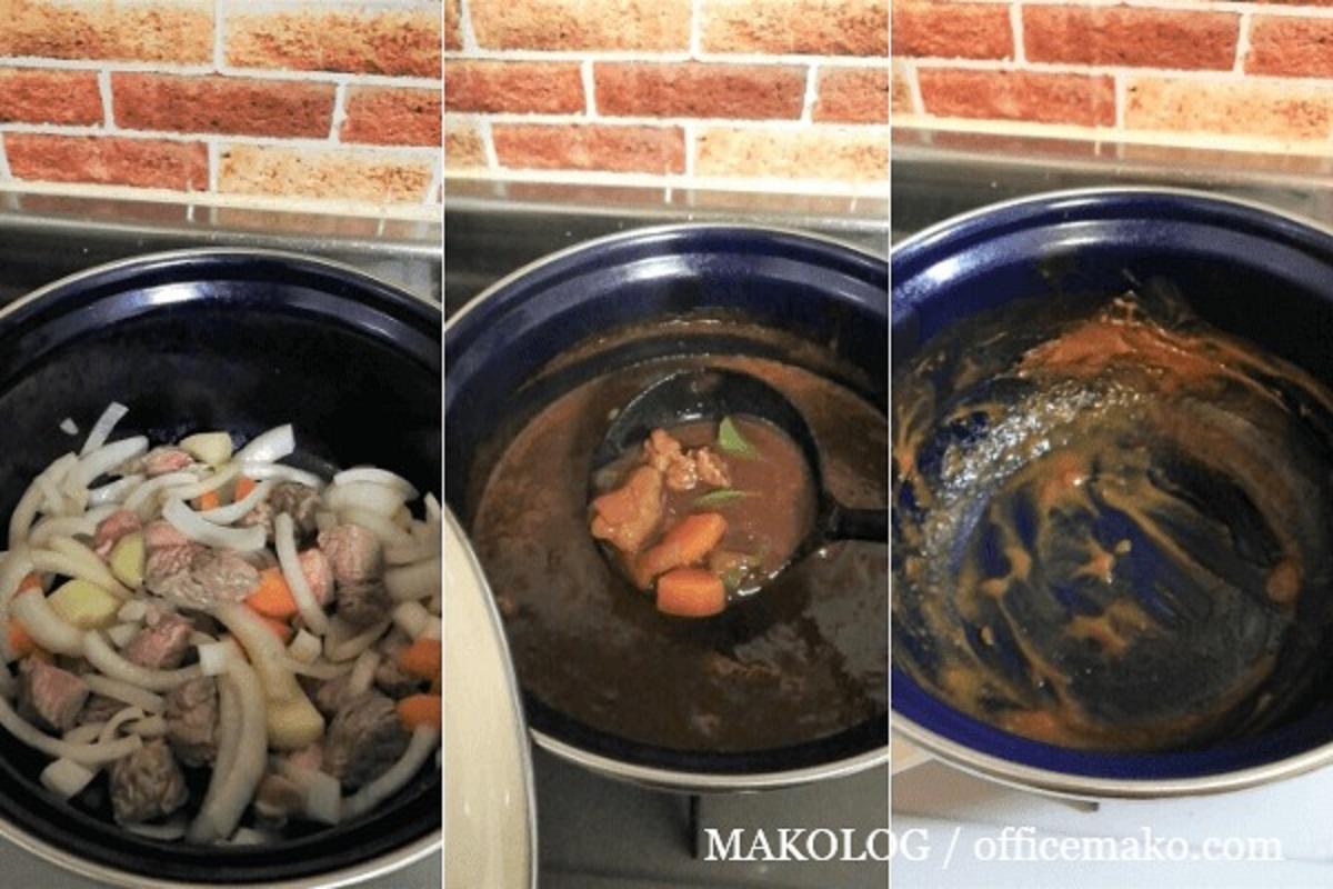 ビーフシチューを作っている鍋の画像